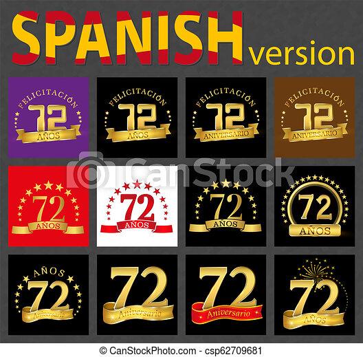 Happy Birthday Seventy Two 72 Year Royalty Free Cliparts