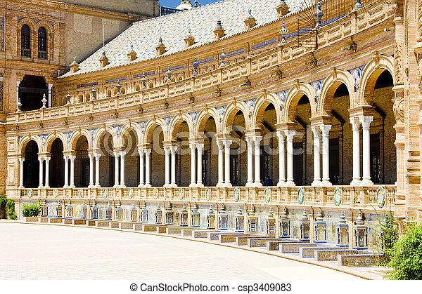 Spanish Square (Plaza de Espana), Seville, Andalusia, Spain - csp3409083