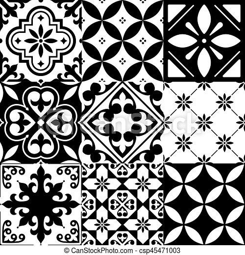 Spanish tiles, moroccan tiles design, seamless black pattern ...