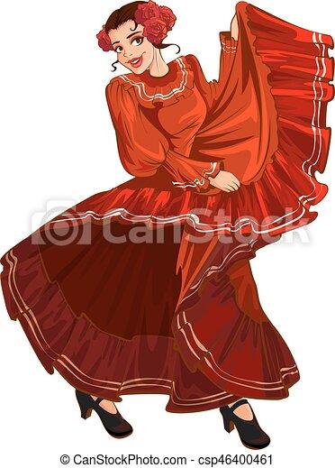 Spanish woman in red dress dancing - csp46400461