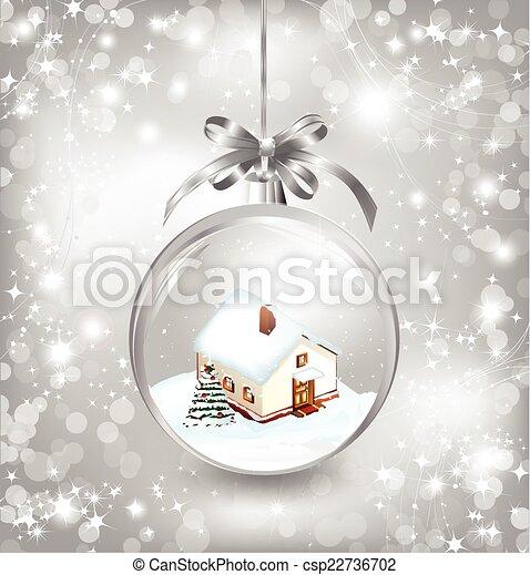 spar, weinig; niet zo(veel), bal, boom huis, kerstmis, glas, sneeuw, vector, bow., zilver - csp22736702