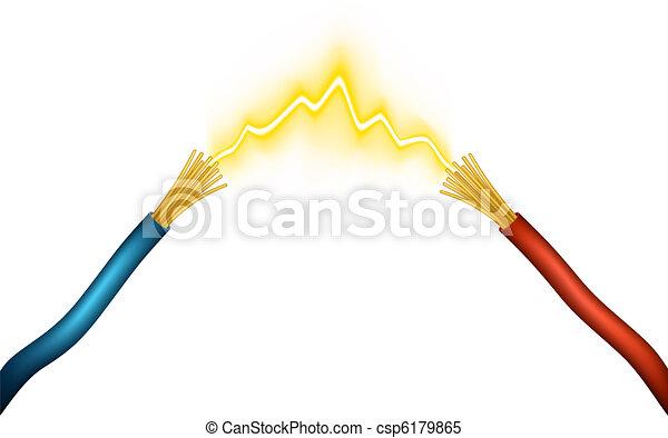 Spark. Editable vector illustration of an electrical spark between ...