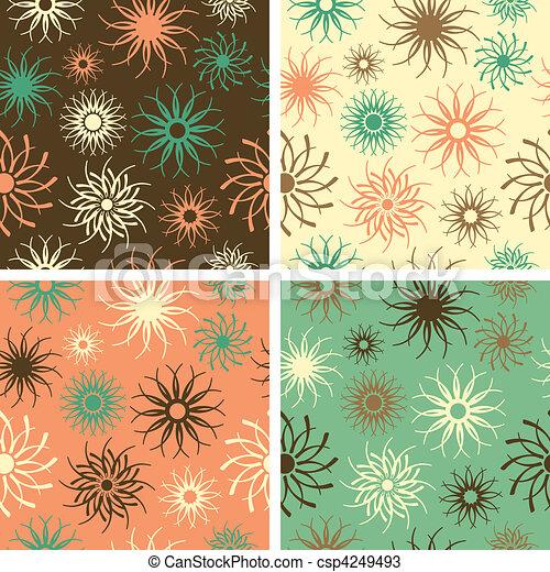 Sparkle Flower Pattern Green-Salmon - csp4249493