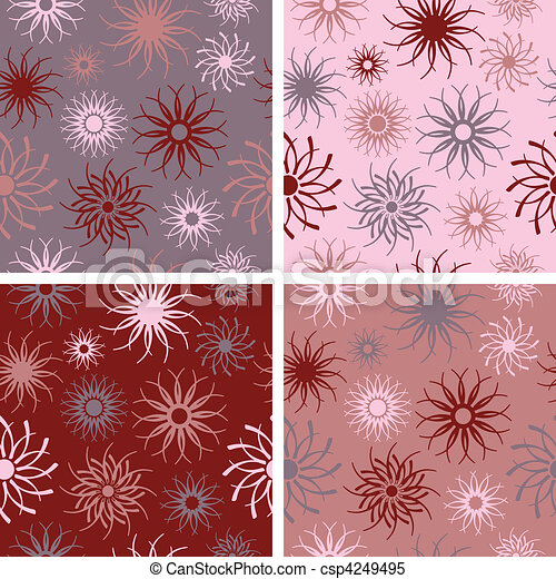 Sparkle Flower Pattern in Red-Rose - csp4249495