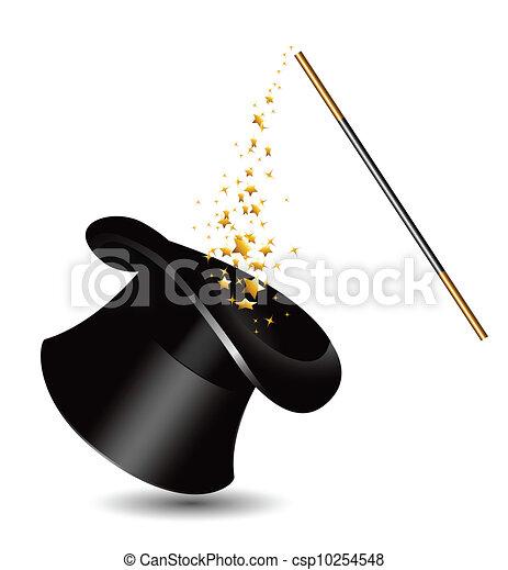 sparkles., マジック, 帽子, 細い棒, v - csp10254548