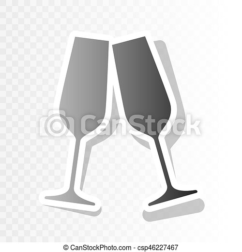 sparkling champagne glasses vector new year blackish icon on transparent background with transition