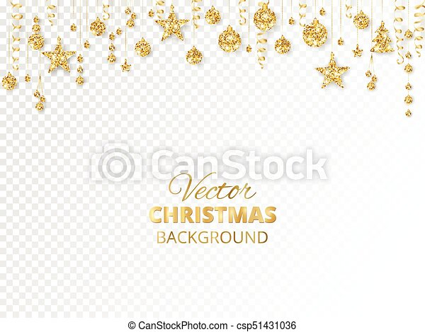 Christmas Header Transparent.Sparkling Christmas Glitter Ornaments Golden Fiesta Border Festive Garland With Hanging Balls And Ribbons Isolated On Transparent Background