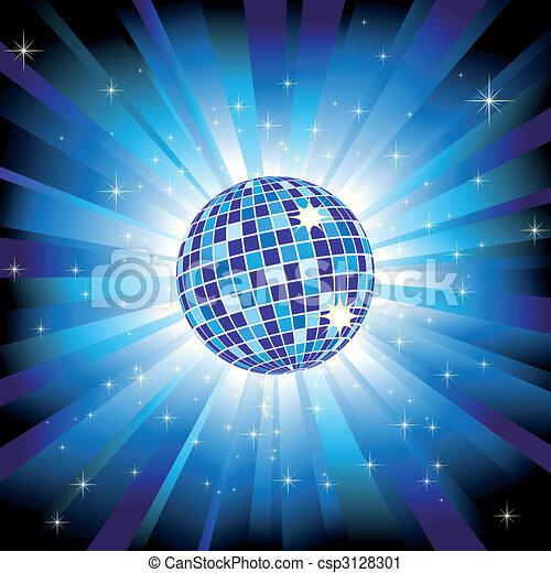 Sparkling disco ball on blue light burst and glitter stars - csp3128301