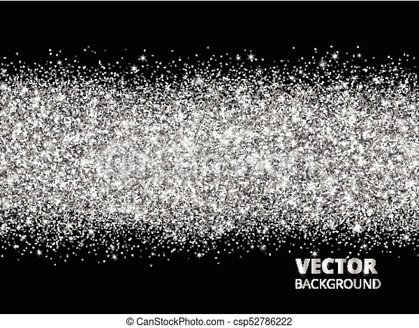 Sparkling Glitter Border On Black Background. Silver Rectangle Of Glitter  Confetti, Vector Dust. Great For Wedding Invitations, Party Posters,  Christmas And ...