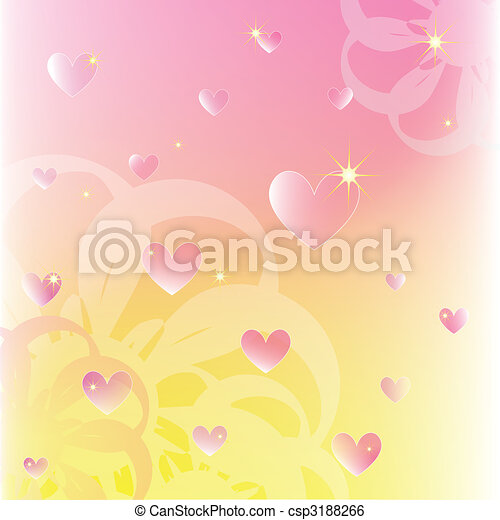 Sparkling hearts on soft color flowers background - csp3188266