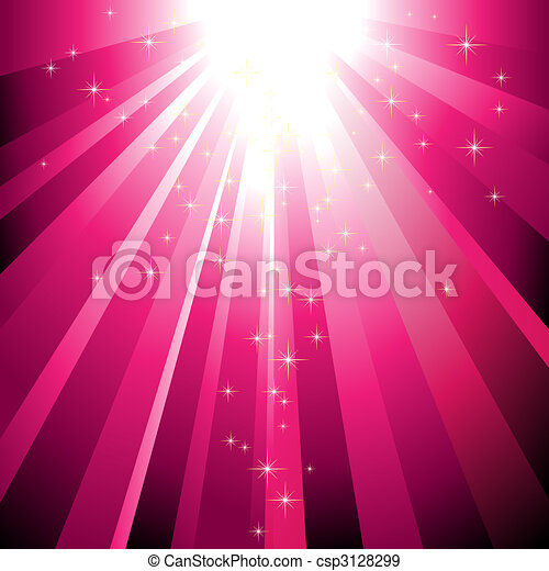 Sparkling stars descending on magenta light burst - csp3128299