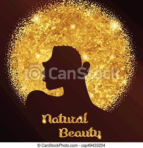 sparkling woman with afro elegant gold and bronze design with
