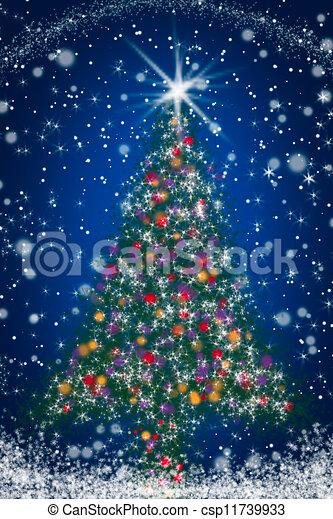 Sparkly Christmas Tree On Blue Starry Night Sky Stock Illustration