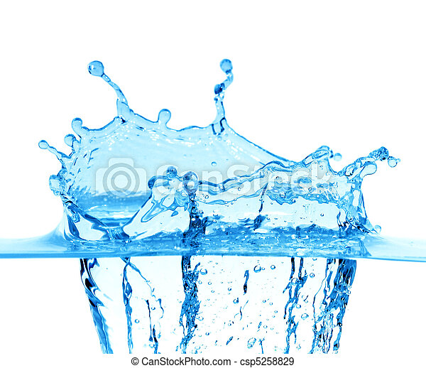 Sparks of blue water on a white background - csp5258829