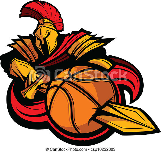Spartan Basketball Mascot Body with Sword and Ball Vector Illust - csp10232803