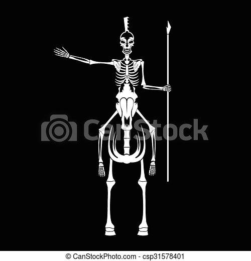 spartan, helm, pferd, skelett, speer - csp31578401