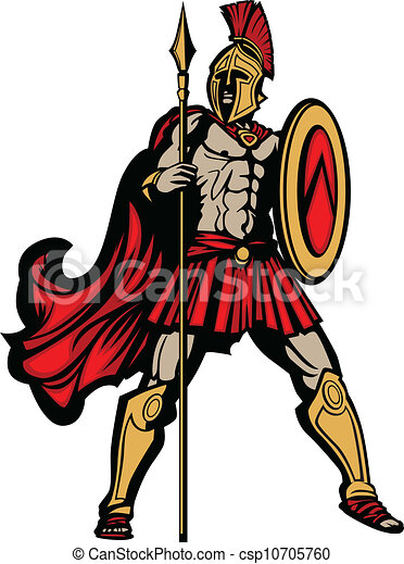 spartan mascot body with spear and shield vector clip art vector rh canstockphoto com spartan clip art logo spartan clip art logo