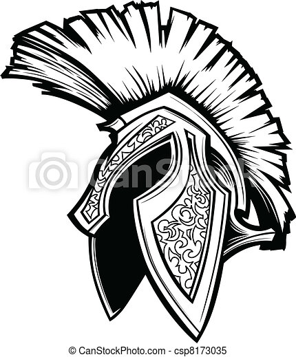 spartan trojan helmet mascot vector vector graphic of a clipart rh canstockphoto com spartan clipart black and white spartan race clip art