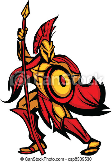 spartan trojan mascot with spear greek spartan or trojan vector rh canstockphoto com spartan clipart gallery spartan shield clipart