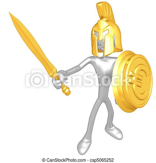 Spartan With Gold Coin Shield - csp5065252