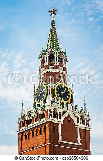 Spasskaya tower of Kremlin on Red Square in Moscow - csp38504306