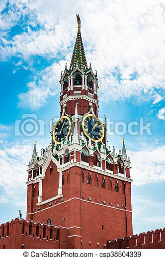 Spasskaya tower of Kremlin on Red Square in Moscow - csp38504339