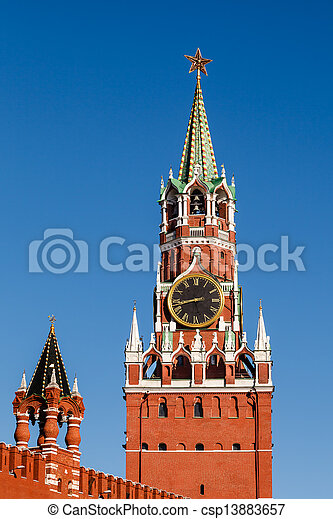 Spasskaya Tower of Kremlin on the Red Square in Moscow, Russia - csp13883657