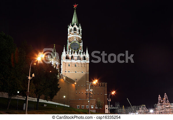 Spasskya Tower of Moscow Kremlin at Red Square in Moscow, Russia - csp16335254
