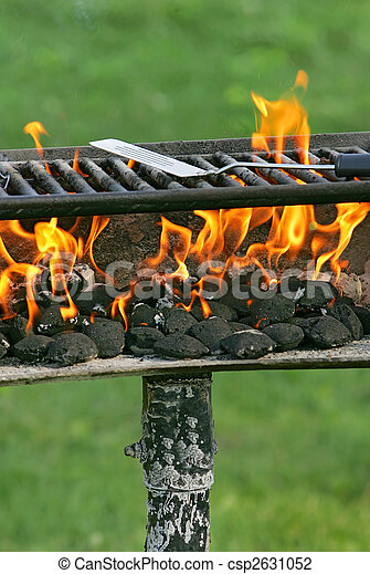 Spatula on Flaming Barbecue Grill - csp2631052