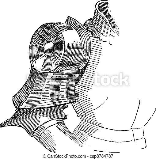 Spaulders, shoulder armor, vintage engraving. - csp8784787