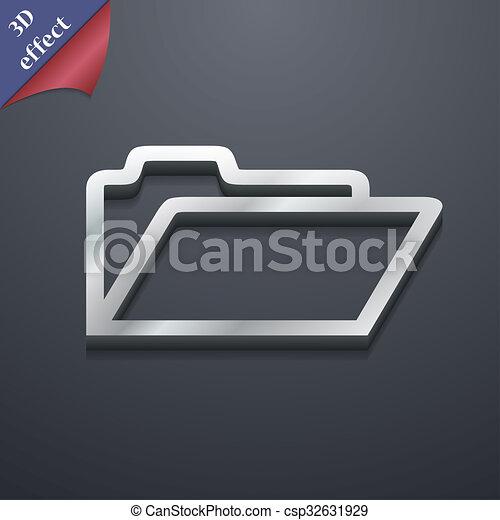 spazio, testo, moderno, simbolo., rastrized, trendy, disegno, cartella, 3d, style., tuo, icona - csp32631929
