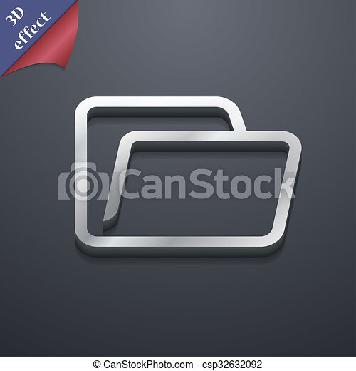 spazio, testo, moderno, simbolo., rastrized, trendy, disegno, cartella, 3d, style., tuo, icona - csp32632092