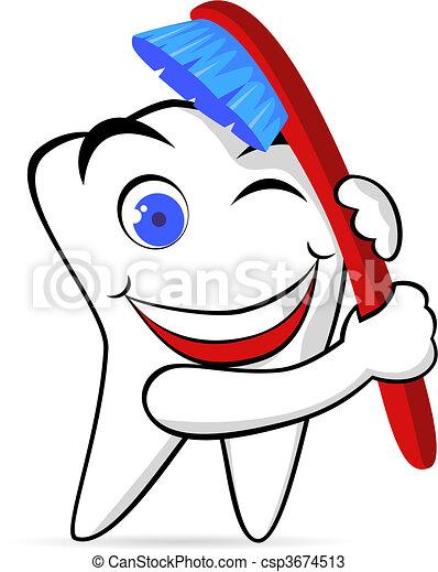 spazzola, dente - csp3674513