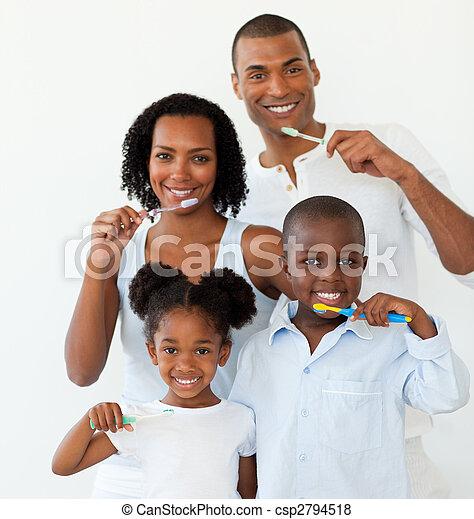 spazzolatura, loro, afro-american, famiglia, denti - csp2794518