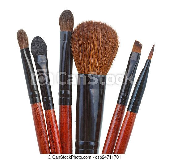 spazzole, set, isolato, trucco, bianco - csp24711701
