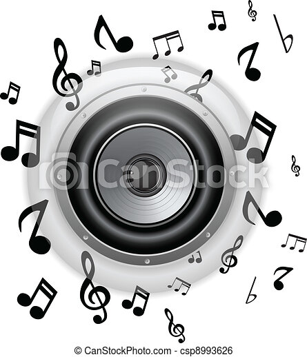 speakers art. vector - speaker glass button with music notes speakers art