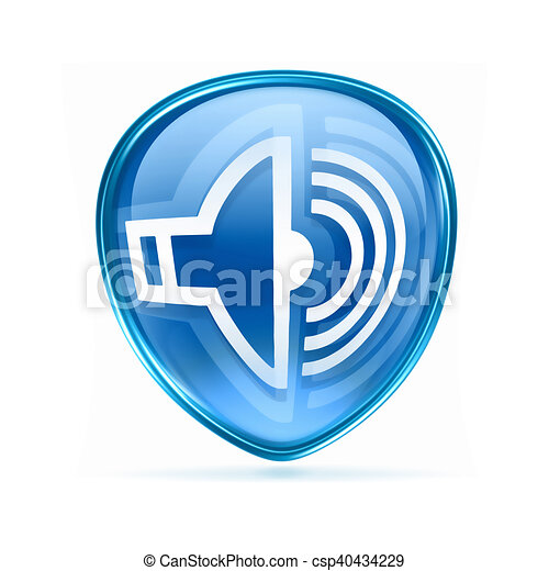 speaker icon blue, isolated on white background. - csp40434229