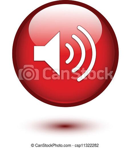 Speaker icon on red - csp11322282