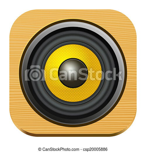 Speaker Icon on Square Wood Internet Button - csp20005886