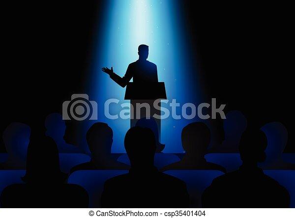 Speaker On Podium - csp35401404