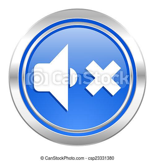 speaker volume icon, blue button, music sign - csp23331380