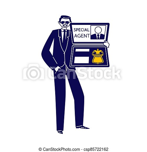 Special Agent Show Id. Handsome Male Character Wear Sunglasses and Dark Formal Suit Holding Identity. Intelligence, FBI - csp85722162