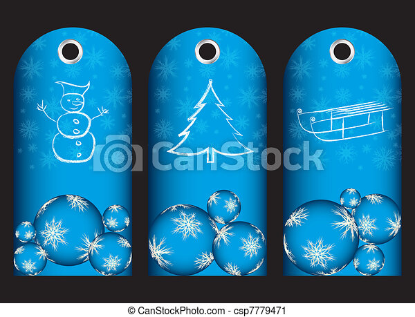 special blue price tags with christmas design - csp7779471