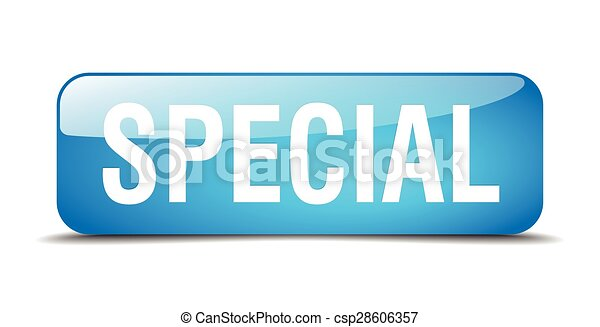 special blue square 3d realistic isolated web button - csp28606357
