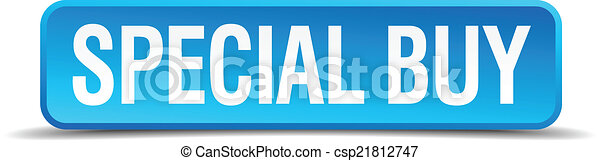 Special buy blue 3d realistic square isolated button - csp21812747