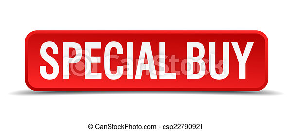 Special buy red 3d square button isolated on white - csp22790921