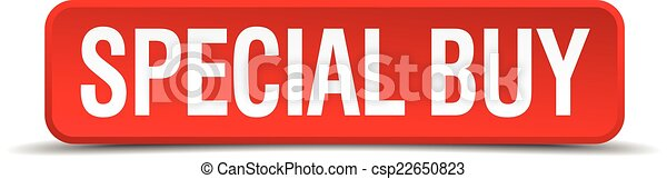 Special buy red 3d square button isolated on white - csp22650823