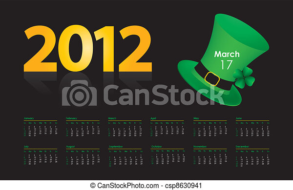 special calendar with St. Patrick's Day design - csp8630941