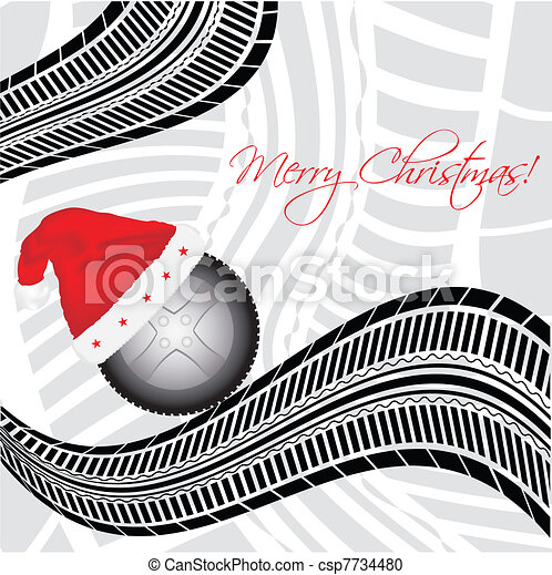 special Christmas background with tire design  - csp7734480