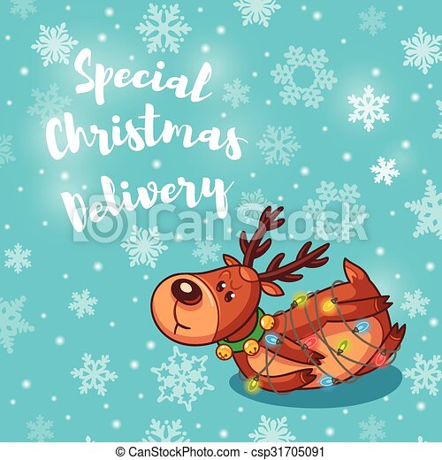 Special christmas delivery holiday card with cute cartoon deer special christmas delivery holiday card with cute cartoon deer csp31705091 m4hsunfo
